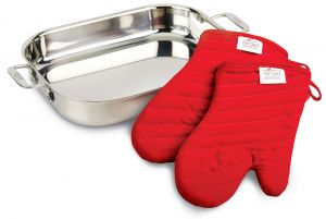 All-Clad Lasagna Pan with Two Oven Mitts / Stainless - Packaging Damage