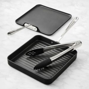 Grill, Griddle and Tongs Set / Hard Anodized - Packaging Damage