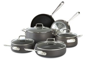 10-Piece Nonstick Grey Cookware Set / Hard Anodized - Packaging Damage