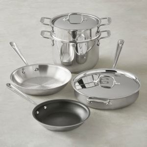 7-Piece Healthy Cookware Set / Stainless and Nonstick - Packaging Damage