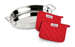 15-Inch Oval Baker w/ Potholders / Stainless - Packaging Damage