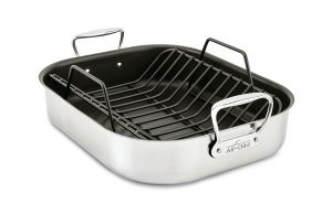 All-Clad 13-In. x 16-In. x 5-In. Nonstick Large Roaster / Stainless - Packaging Damage