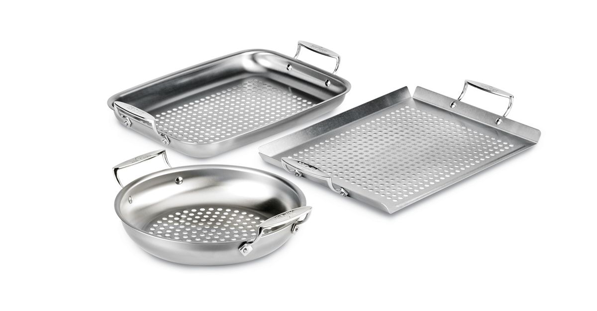 3-Piece All-Clad Stainless-Steel Outdoor Cookware Set (Packaging Damage) includes an 11